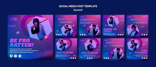 Baseball-training social media post-vorlage