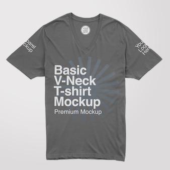Basic tshirt mockup mit v-ausschnitt