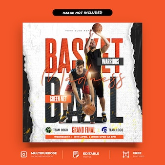 Basketball league instagram beitragsvorlage