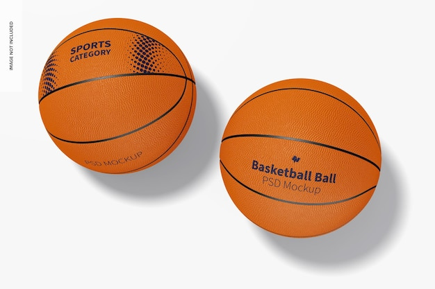 Basketballbälle mockup, ansicht von oben