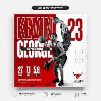 Basketballspieler-einführung social media-vorlage