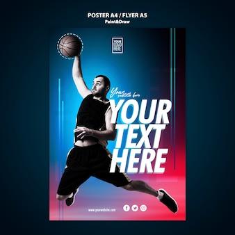 Basketballspieler flyer vorlage