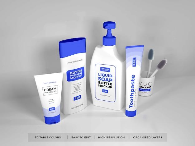 Bath kit set mockup design isoliert