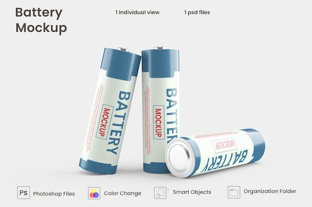 Batteriezellmodell in 3d-rendering für das produktdesign Premium PSD