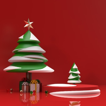 Baum mit schnee und geschenken realistische produktanzeigen bühne vorschau szene hintergrund seitenansicht
