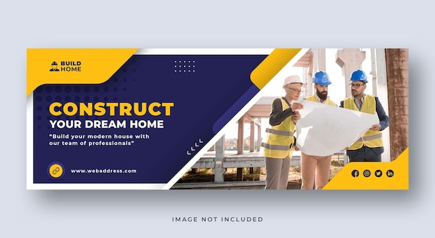 Bauservice oder renovierung social media cover webbanner