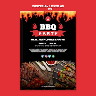 Bbq konzept poster flyer vorlage
