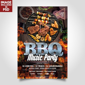 Bbq-musik-party-flyer-schablone