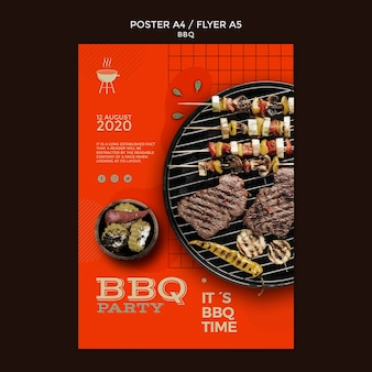 Bbq party flyer vorlage