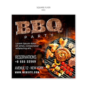 Bbq party square flyer vorlage