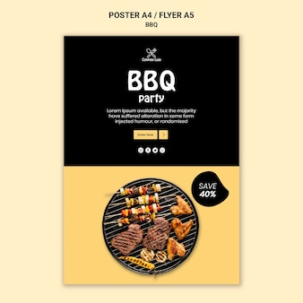 Bbq partyplakatart