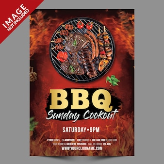 Bbq sunday party poster oder flyer vorlage