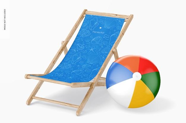 Beach klappstuhl mockup, ansicht von links