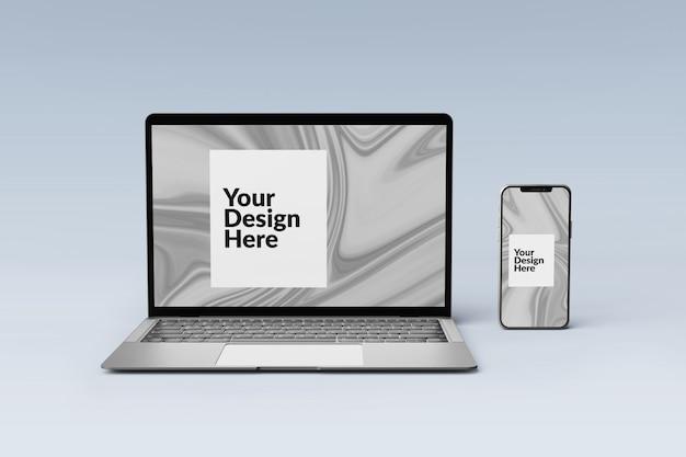 Bearbeitbar set digitalgeräte bildschirm smartphone und laptop modell Premium PSD