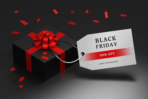 Bearbeitbare black friday sale-komposition mit geschenkbox und blanko-etikett