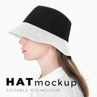 Bearbeitbare bucket hat-mockup-psd-vorlage für streetfashion-anzeige