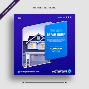 Bearbeitbare einfache minimalistische haus zum verkauf immobilien instagram banner promotionen