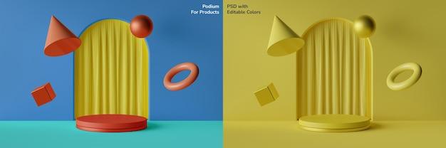 Bearbeitbare farbe des kreisförmigen podiums mit schwebenden geometrischen elementen 3d illustration