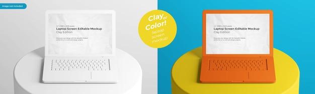 Bearbeitbare farbe des lehmoberflächen-laptops auf podium in der mittleren zusammensetzungsmodellvorlage