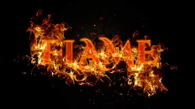 Bearbeitbare flammentexteffekt-psd-vorlage