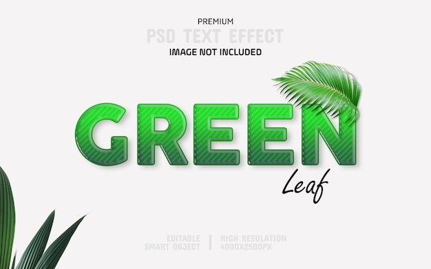 Bearbeitbare green leaf-texteffektvorlage