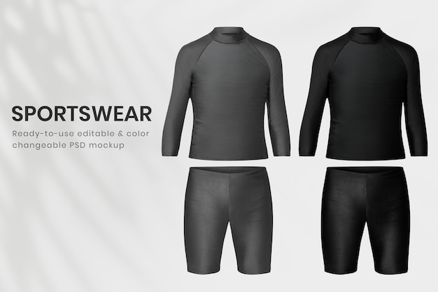 Bearbeitbare herren sportbekleidung mockup psd rash guard und badeshorts bekleidung