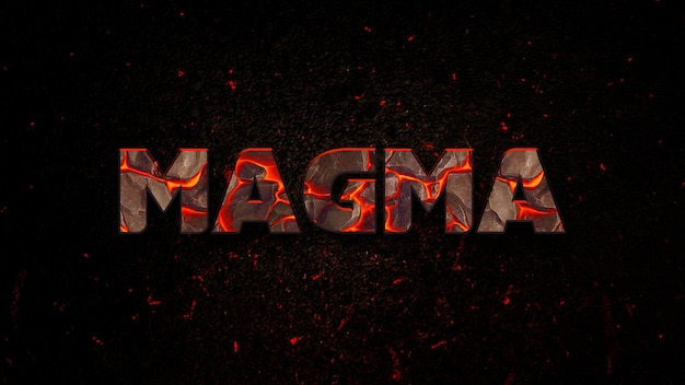 Bearbeitbare magma-texteffekt-psd-vorlage