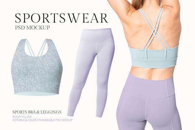 Bearbeitbare psd-modellvorlage für sportbekleidung für damenbekleidungsanzeige