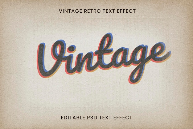 Bearbeitbare vintage-texteffekt-psd-vorlage