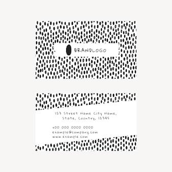 Bearbeitbare visitenkartenvorlage psd mit tintenpinselmuster