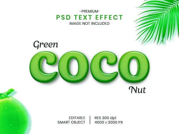 Bearbeitbarer 3d psd-texteffekt der kokosnuss