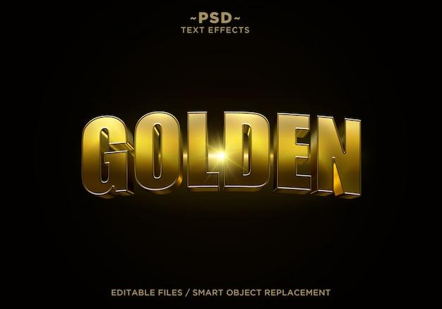 Bearbeitbarer text des 3d-goldenen filmeffekts
