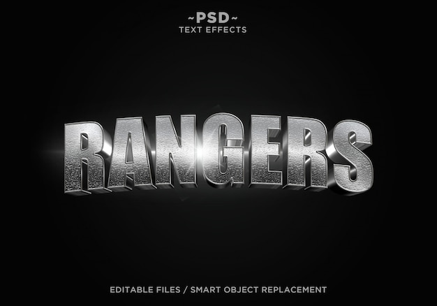 Bearbeitbarer text für 3d rangers cinematic steel effect