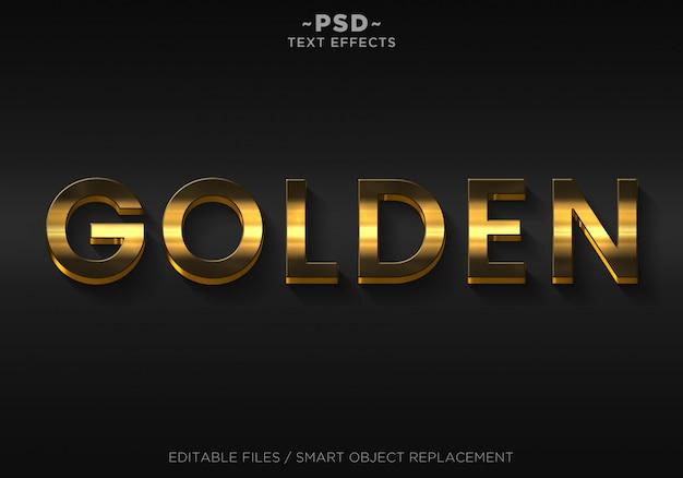Bearbeitbarer text für goldene elegante 3d-effekte