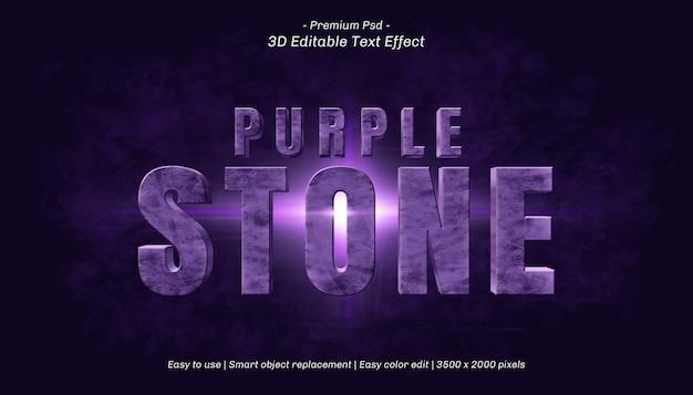 Bearbeitbarer texteffekt 3d-lila stein