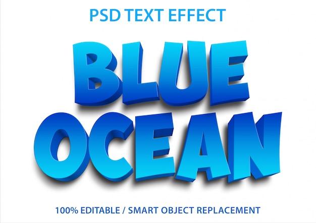 Bearbeitbarer texteffekt blue ocean