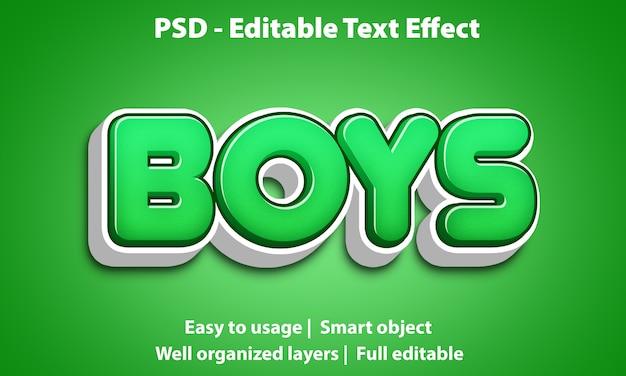 Bearbeitbarer texteffekt cute boys premium