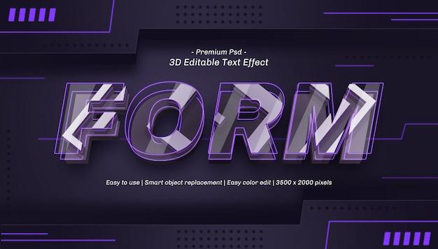 Bearbeitbarer texteffekt für 3d-formulare