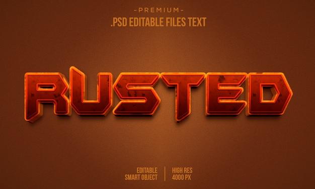 Bearbeitbarer texteffekt - rostender textstil, texteffekt aus verrostetem metall, texteffekt aus kupfermetall