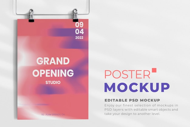 Bearbeitbares abgeschnittenes poster für die große eröffnung Kostenlosen PSD