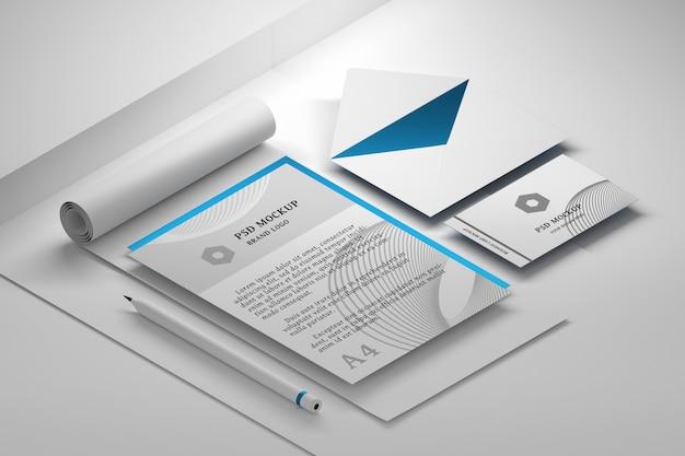 Bearbeitbares briefpapier-psd-modell mit premium-sammlung von büropapierdokumenten