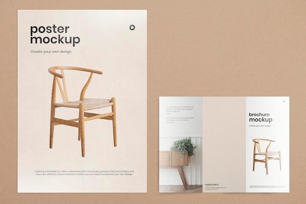 Bearbeitbares poster-mockup-psd mit dreifach gefalteter broschüre
