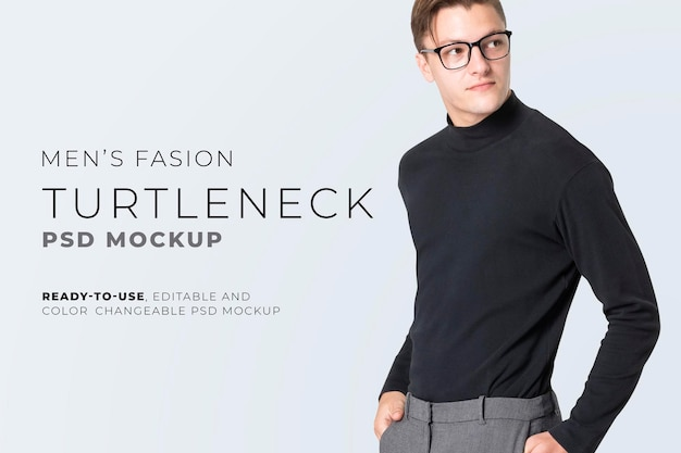 Bearbeitbares rollkragen-t-shirt mockup psd herren casual business fashion anzeige
