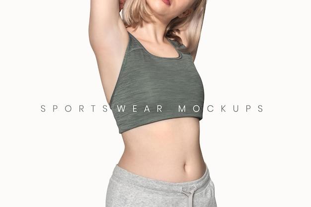 Bearbeitbares sportbekleidungsmodell psd mit sport-bh und jogginghose