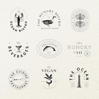 Bearbeitbares vintage-abzeichen-vorlagen-psd für restaurant-set, remixed aus gemeinfreien kunstwerken