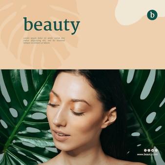Beauty banner vorlage mit einer frau