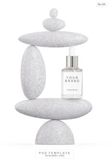 Beauty serum mit stein. 3d render