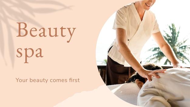 Beauty spa wellness-vorlage psd mit ihrer schönheit kommt der erste text