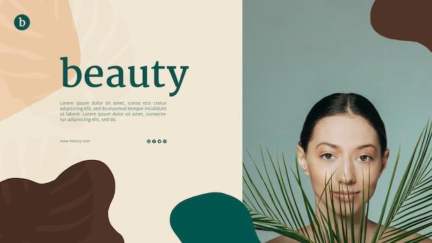 Beauty web template mit einer frau