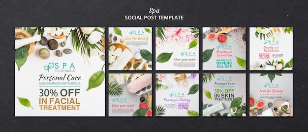 Beitragsvorlage für soziale medien des spa-konzepts